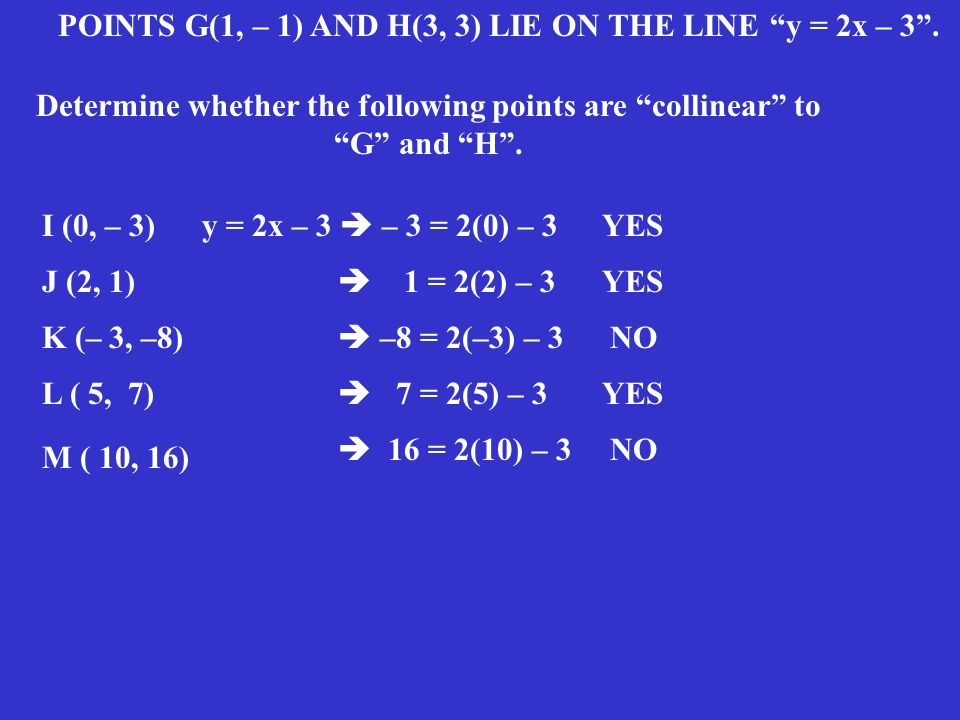 Determine whether the following points are collinear to G and H .
