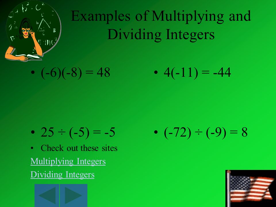 Examples of Multiplying and Dividing Integers