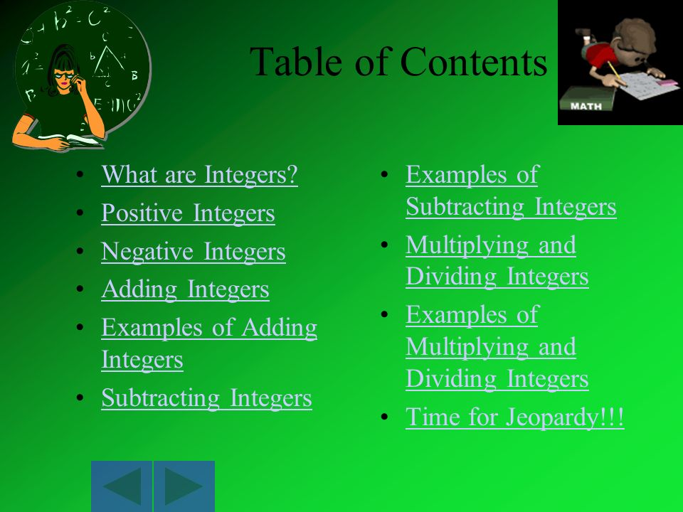 Table of Contents What are Integers Positive Integers