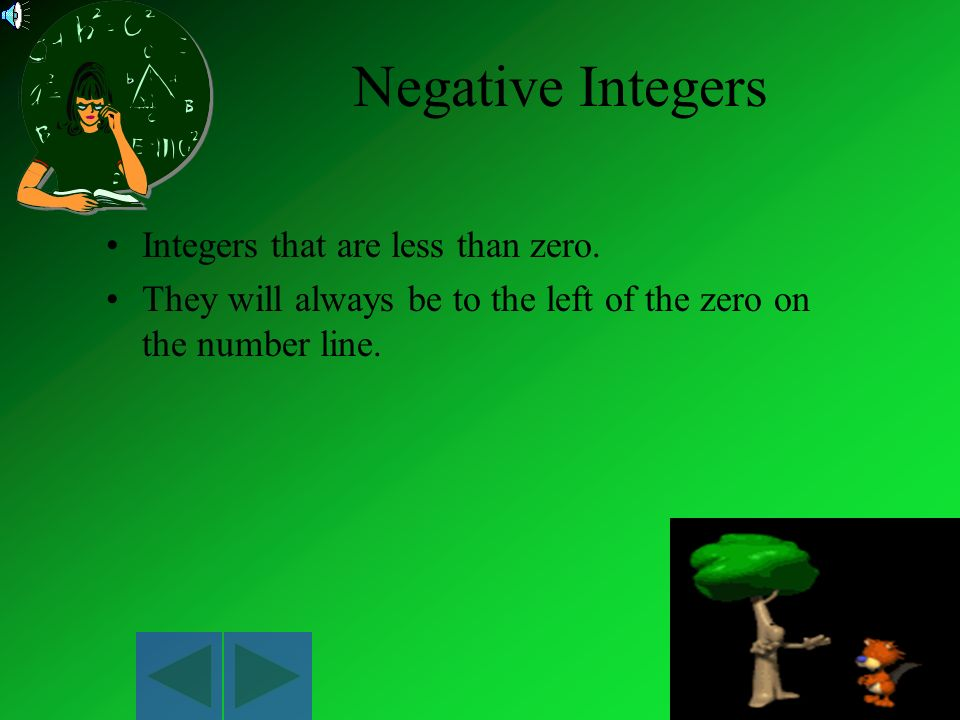 Negative Integers Integers that are less than zero.