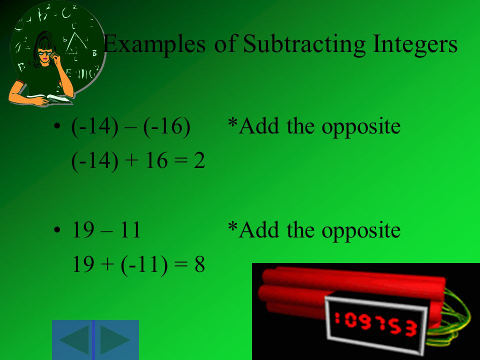 Examples of Subtracting Integers