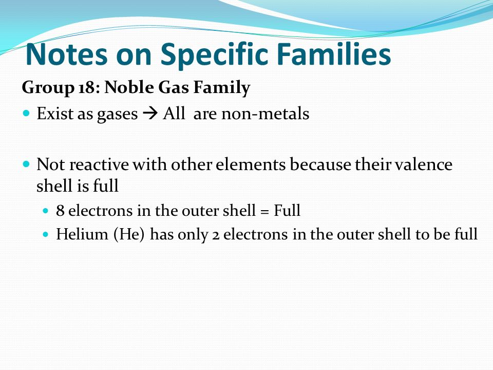 Notes on Specific Families
