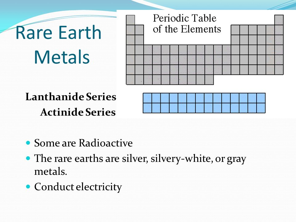 Rare Earth Metals Lanthanide Series Actinide Series