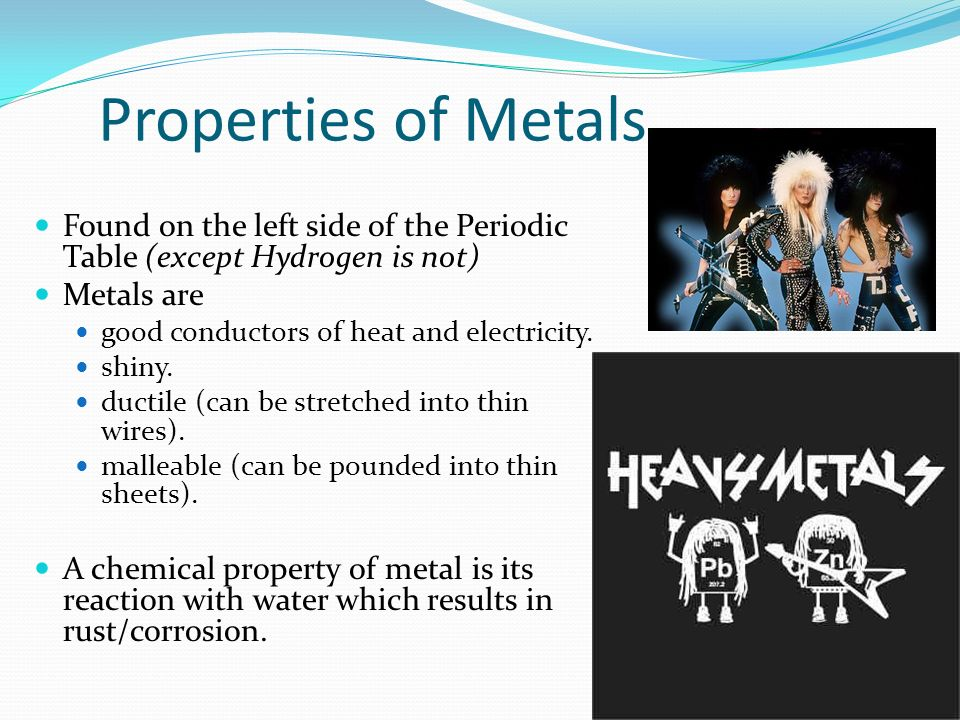 Properties of Metals Found on the left side of the Periodic Table (except Hydrogen is not) Metals are.