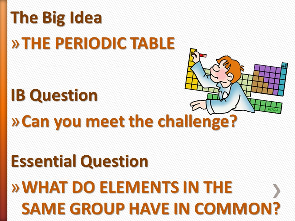 Properties of atoms and the periodic table ppt video online download the big idea the periodic table ib question can you meet the challenge essential urtaz Image collections