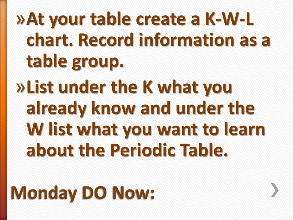 Properties of atoms and the periodic table ppt video online download at your table create a k w l chart record information as a table group urtaz Image collections
