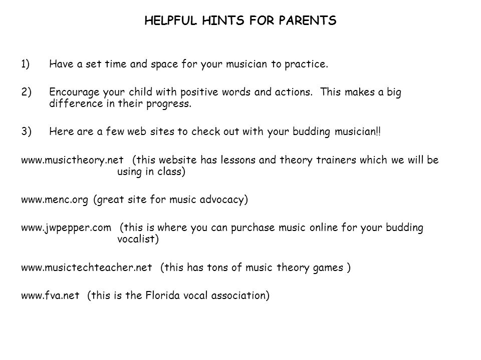 HELPFUL HINTS FOR PARENTS