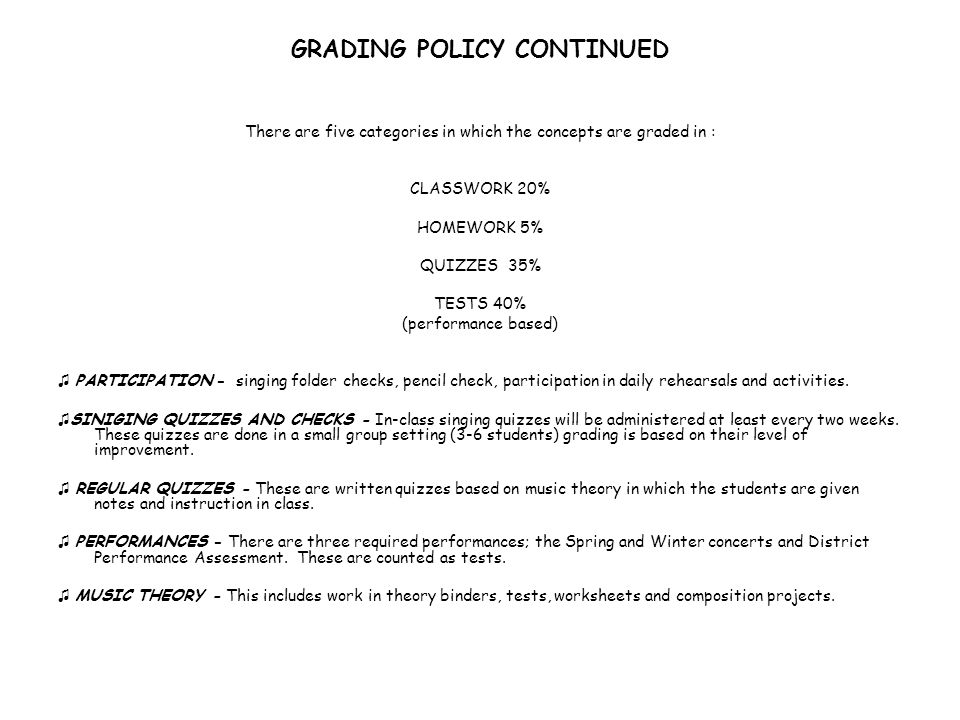GRADING POLICY CONTINUED
