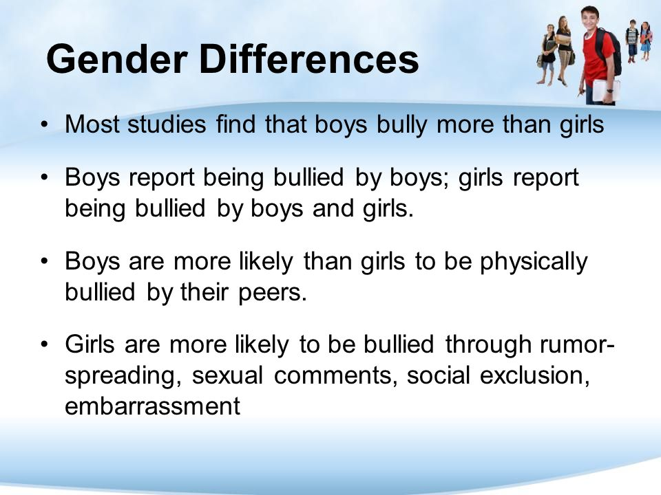 Gender Differences Most studies find that boys bully more than girls