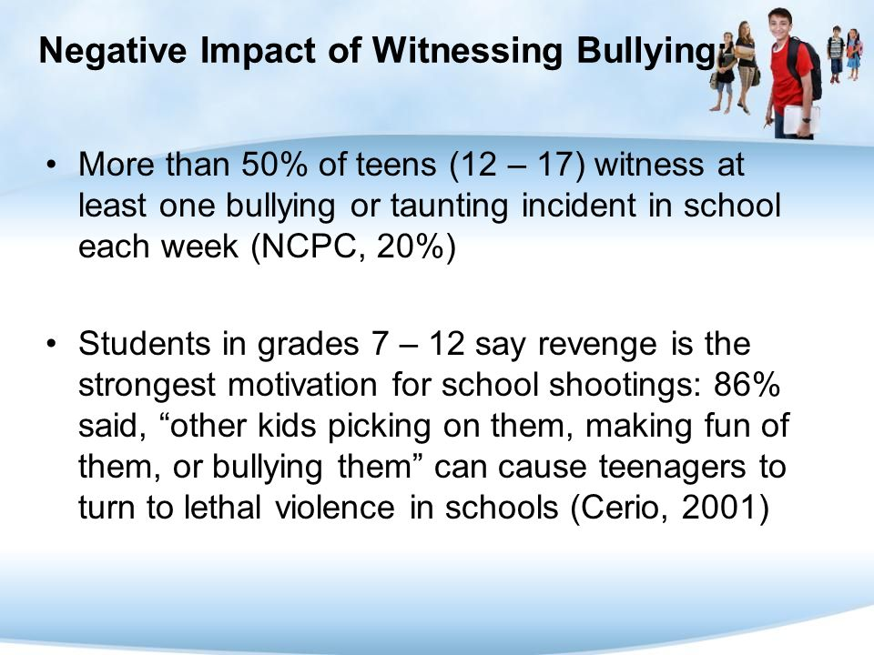 Negative Impact of Witnessing Bullying:
