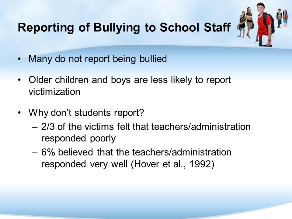 Reporting of Bullying to School Staff