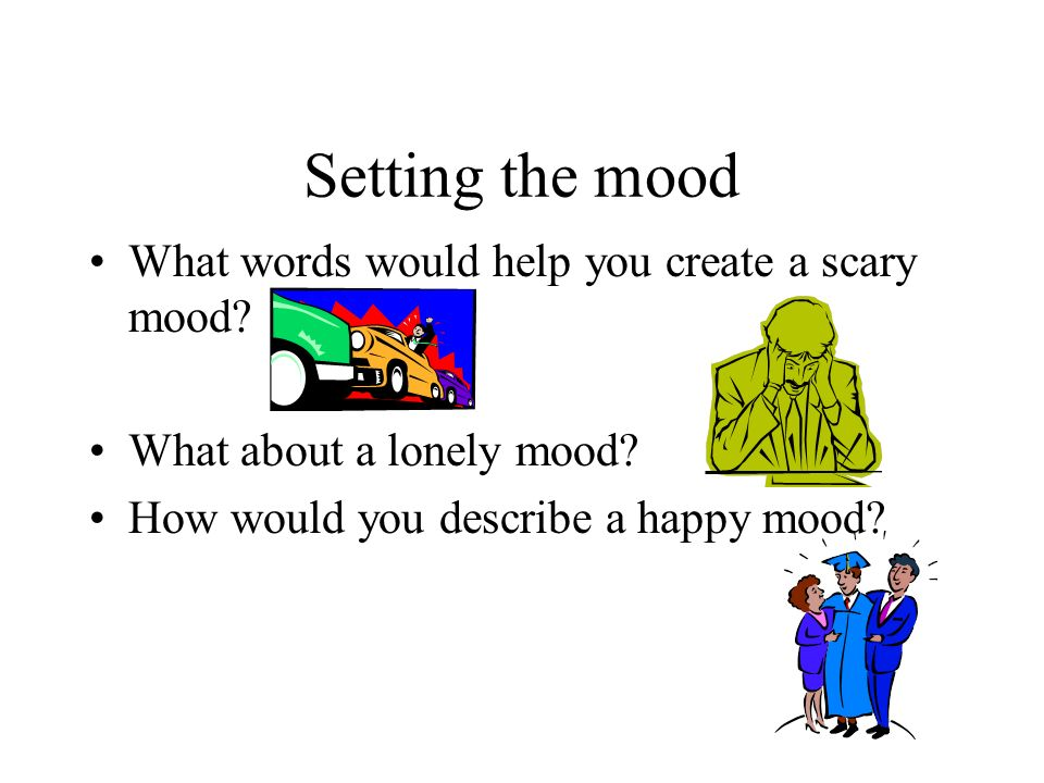 Setting the mood What words would help you create a scary mood