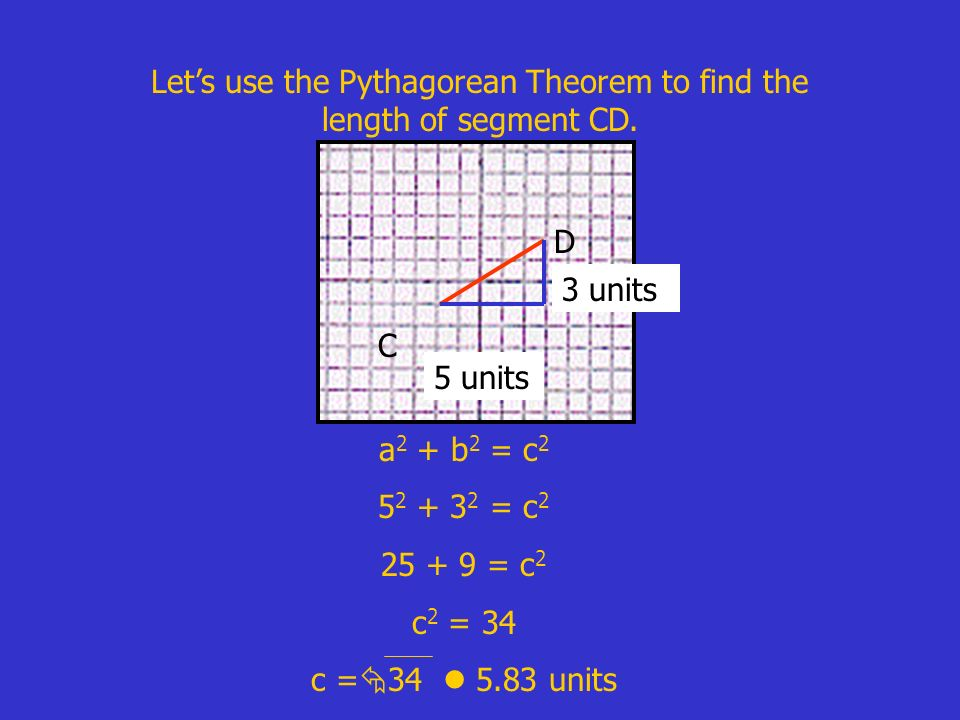Let's use the Pythagorean Theorem to find the length of segment CD.
