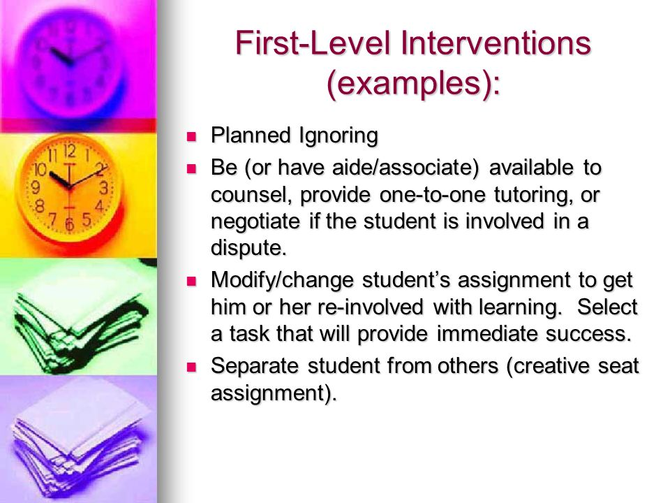 First-Level Interventions (examples):