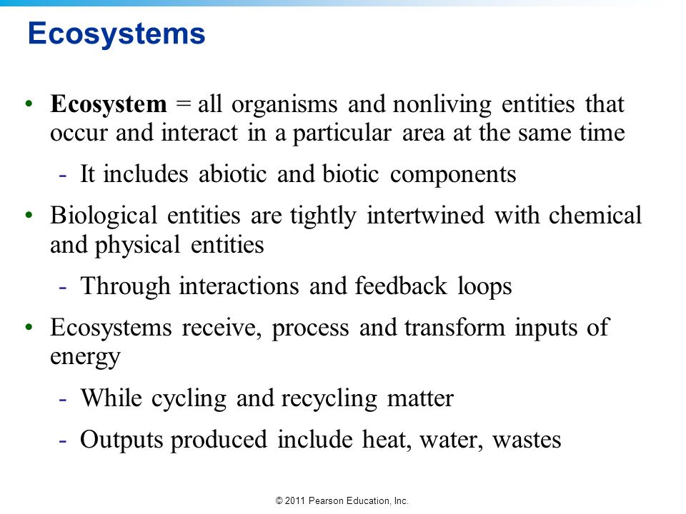 Ecosystems Ecosystem = all organisms and nonliving entities that occur and interact in a particular area at the same time.