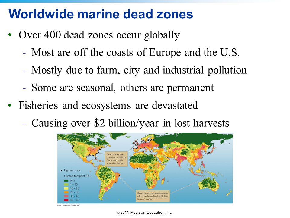 Worldwide marine dead zones
