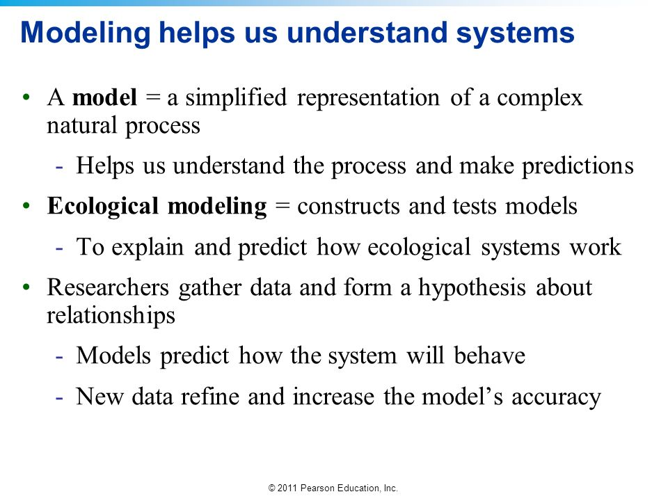 Modeling helps us understand systems