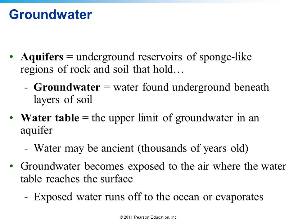 Groundwater Aquifers = underground reservoirs of sponge-like regions of rock and soil that hold…