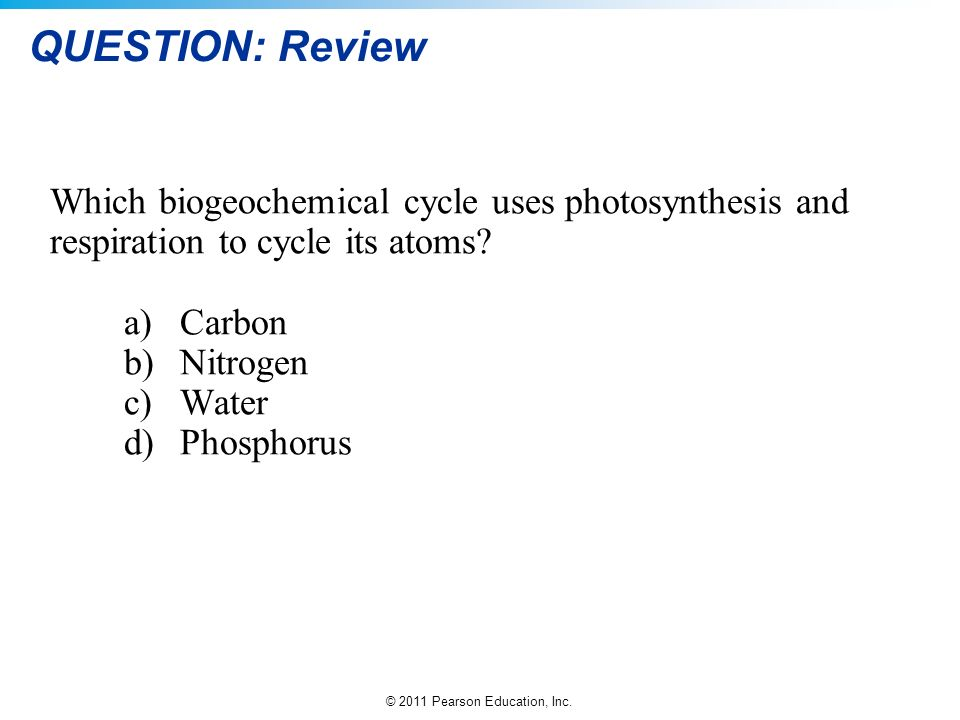 QUESTION: Review Which biogeochemical cycle uses photosynthesis and respiration to cycle its atoms