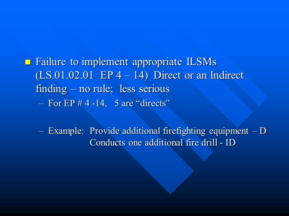 Failure to implement appropriate ILSMs (LS. 01. 02