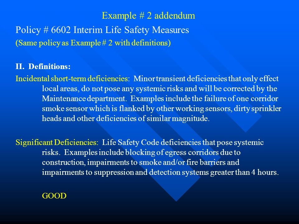 Policy # 6602 Interim Life Safety Measures