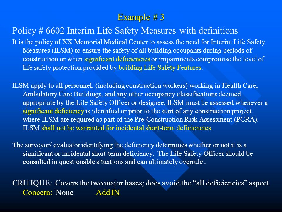 Policy # 6602 Interim Life Safety Measures with definitions