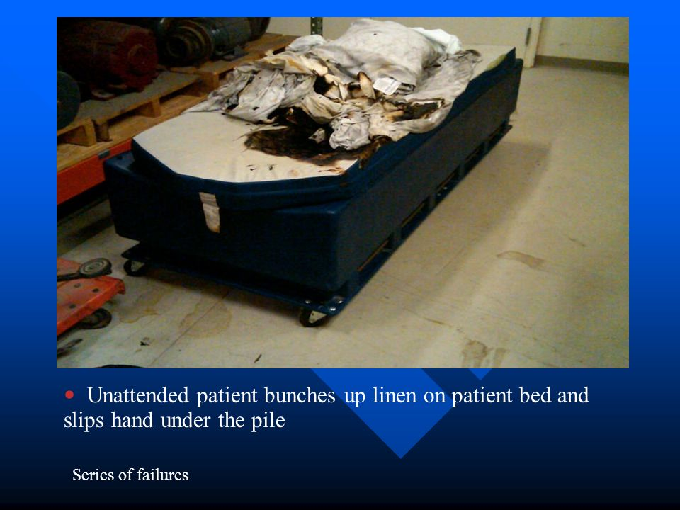 Unattended patient bunches up linen on patient bed and slips hand under the pile