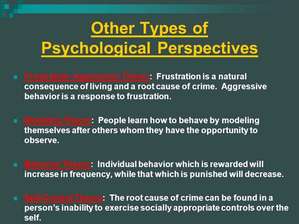 psychological perspectives for aggression The biological perspective is a school of thought focused on physical causes of human behavior in the biological perspective  doing psychological .