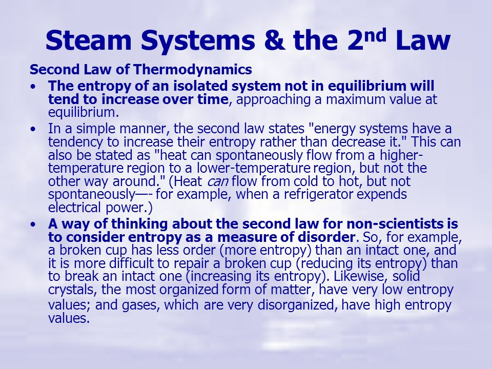 Steam Systems & the 2nd Law