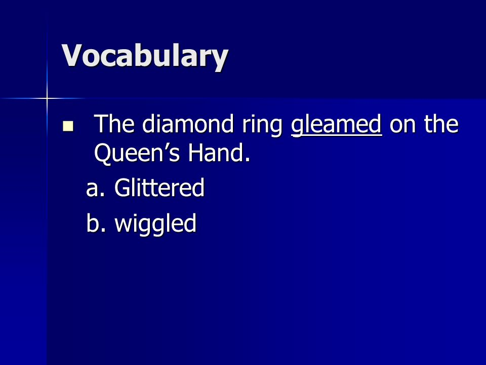Vocabulary The diamond ring gleamed on the Queen's Hand. Glittered