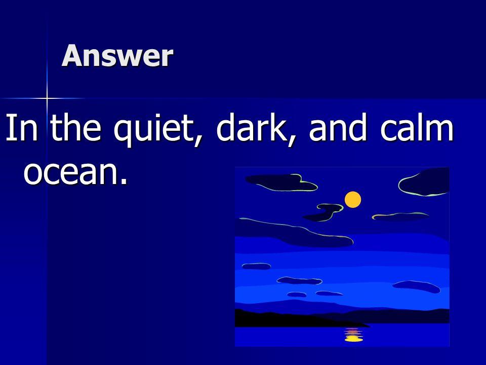 In the quiet, dark, and calm ocean.