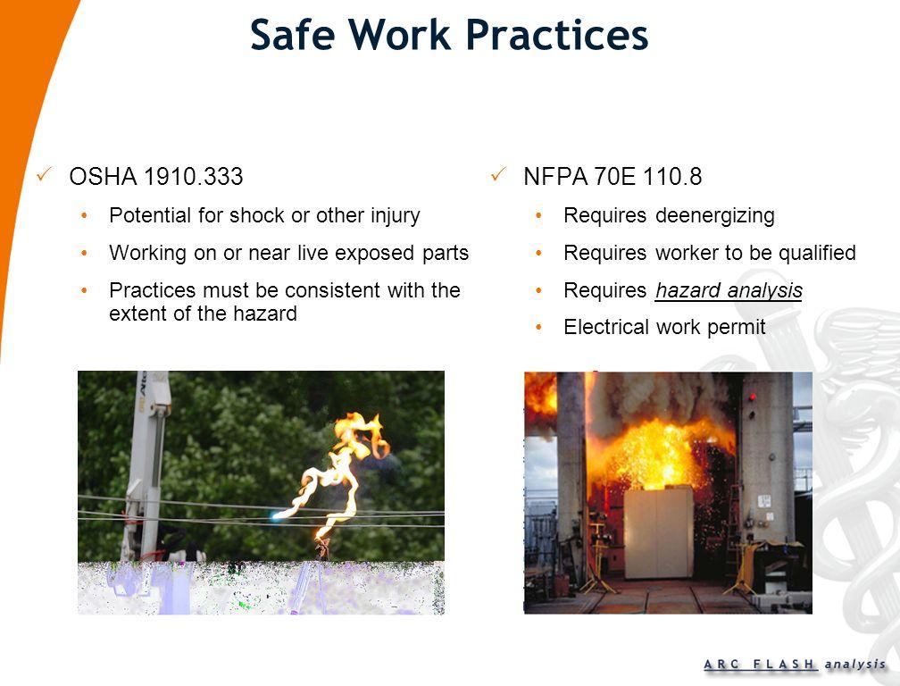 Safe Work Practices OSHA 1910.333 NFPA 70E 110.8