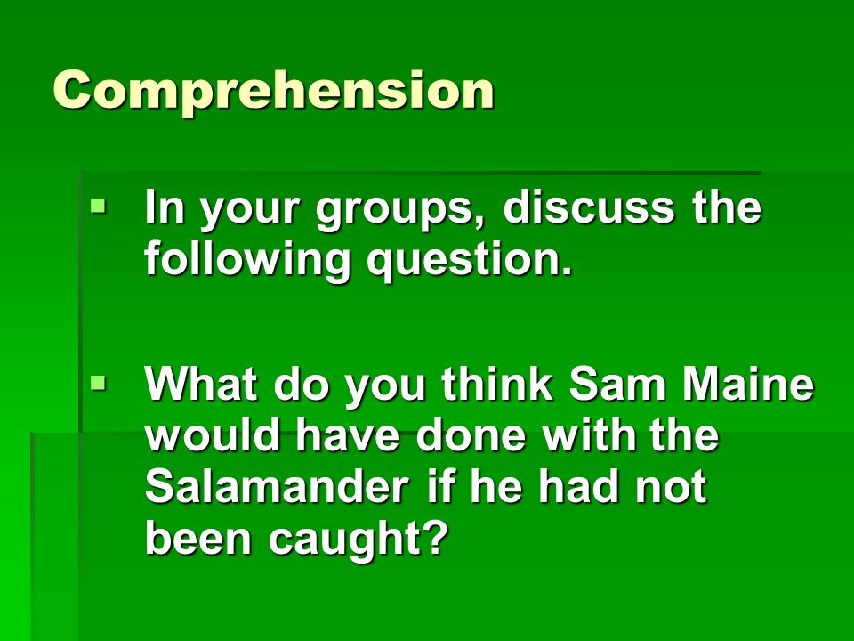 Comprehension In your groups, discuss the following question.