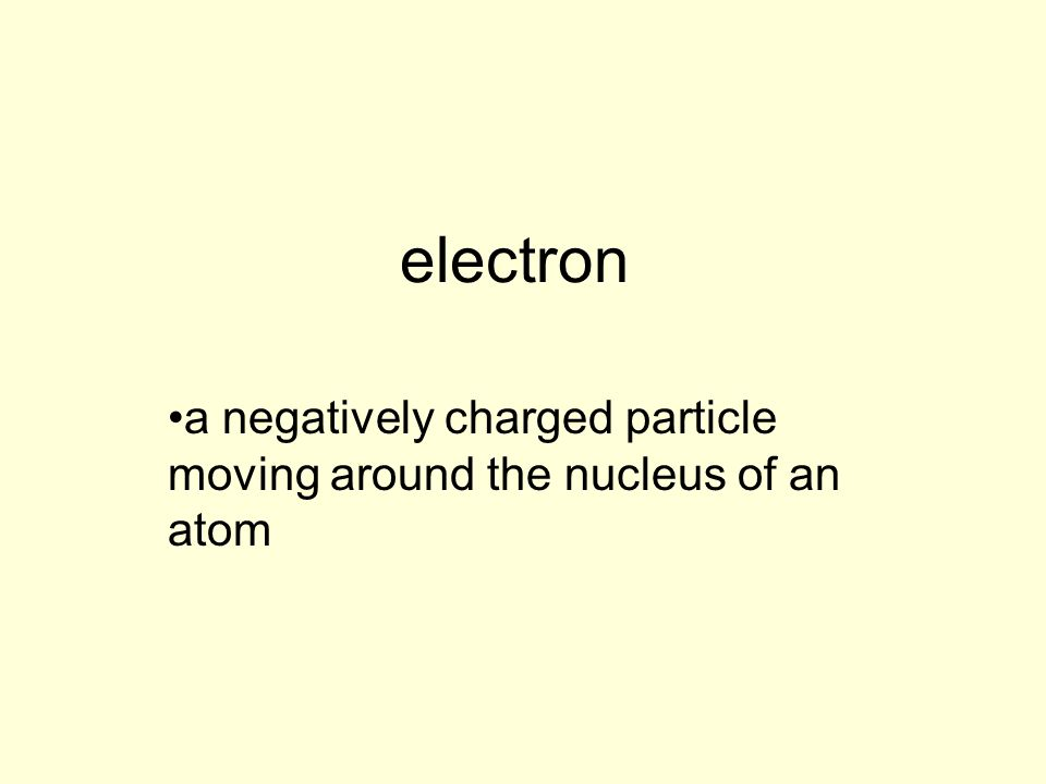 a negatively charged particle moving around the nucleus of an atom