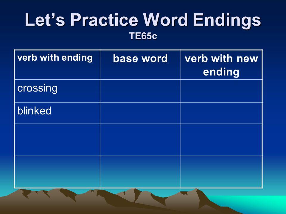 Let's Practice Word Endings TE65c