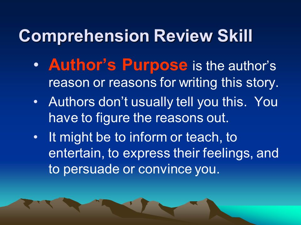 Comprehension Review Skill