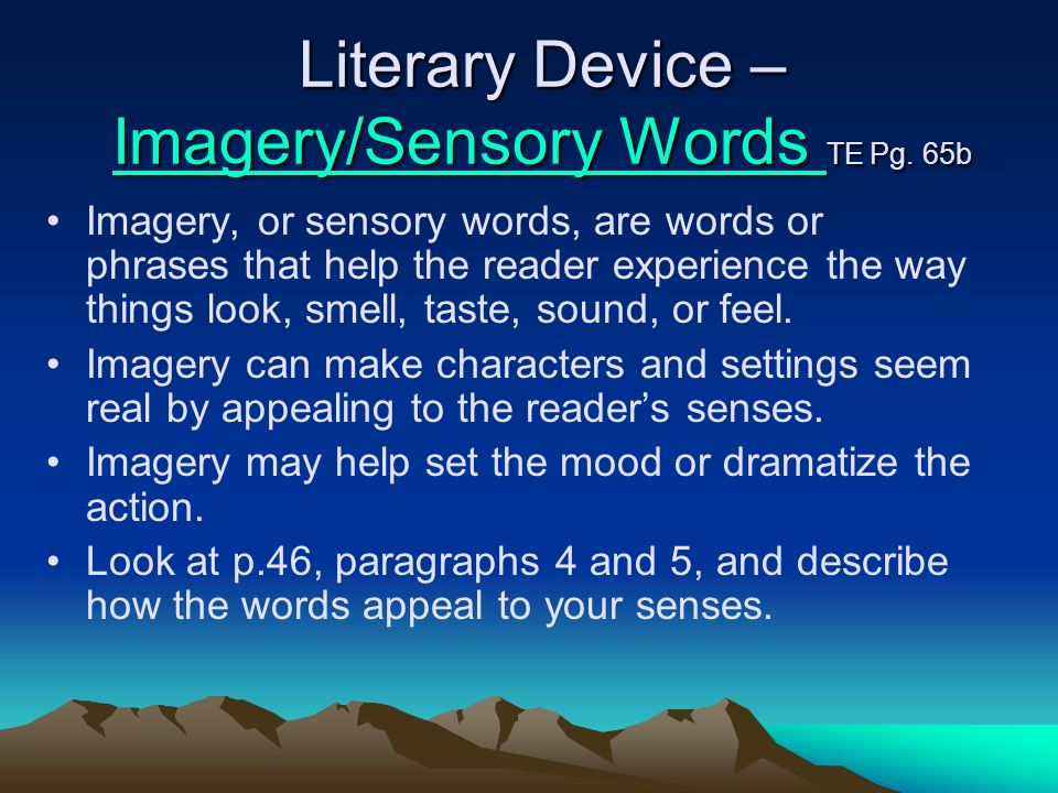 Literary Device – Imagery/Sensory Words TE Pg. 65b