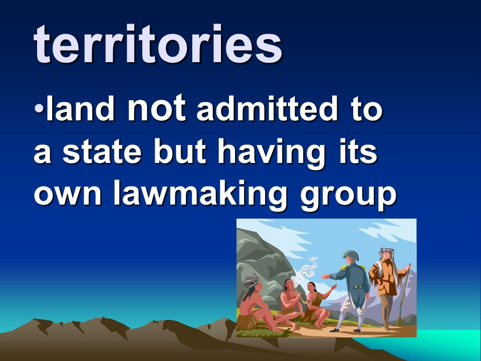 land not admitted to a state but having its own lawmaking group