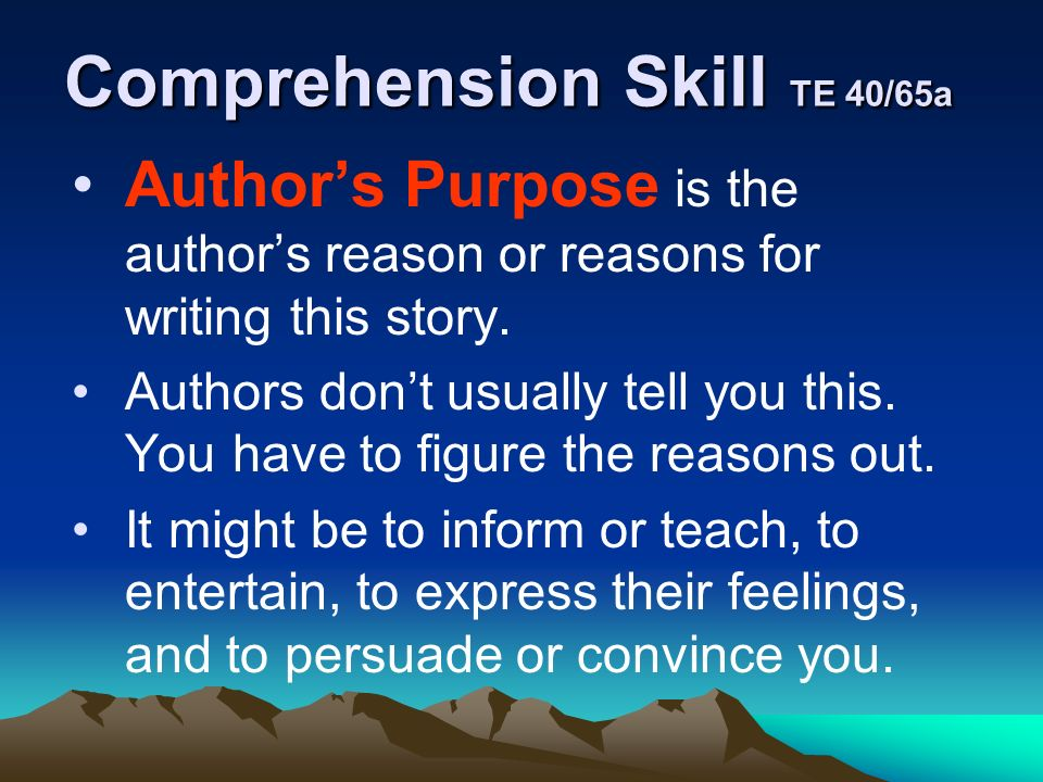 Comprehension Skill TE 40/65a