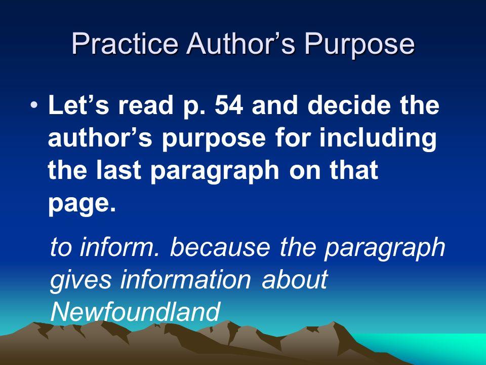 Practice Author's Purpose