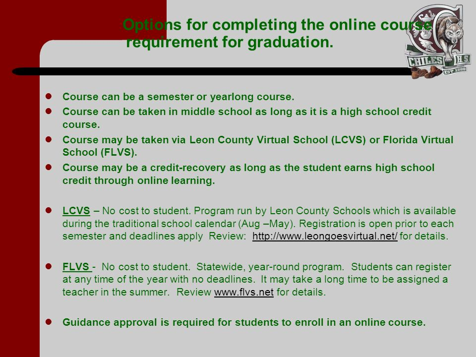 Options for completing the online course requirement for graduation.