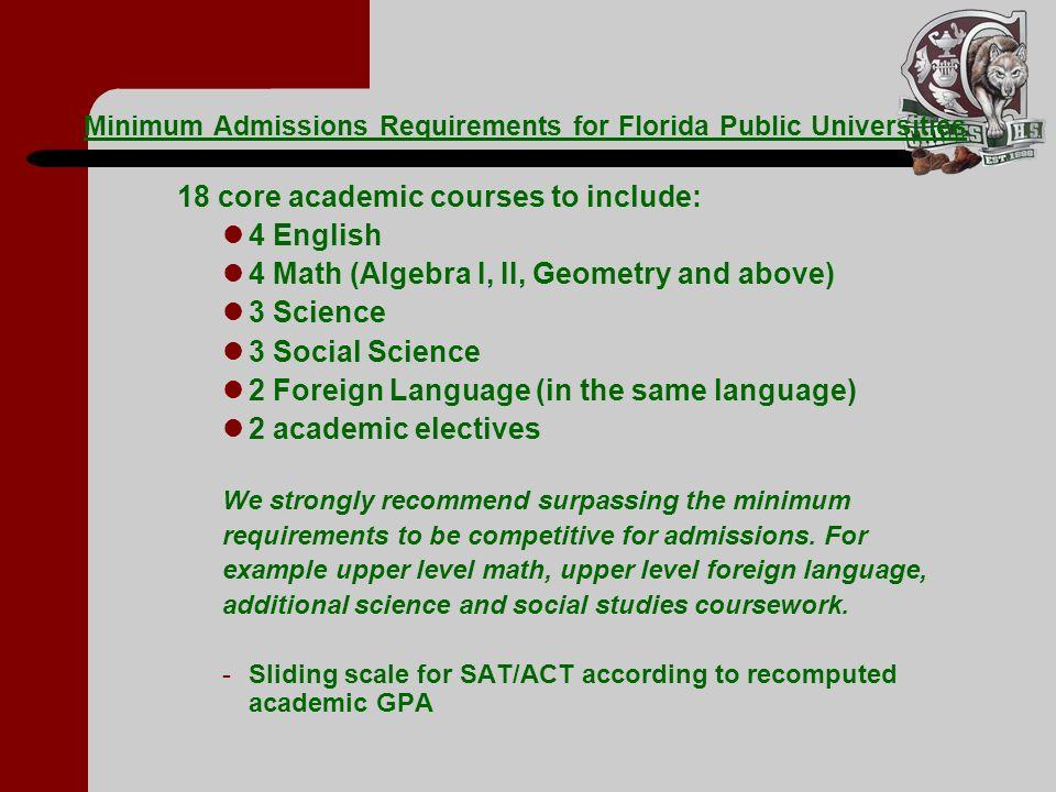 Minimum Admissions Requirements for Florida Public Universities