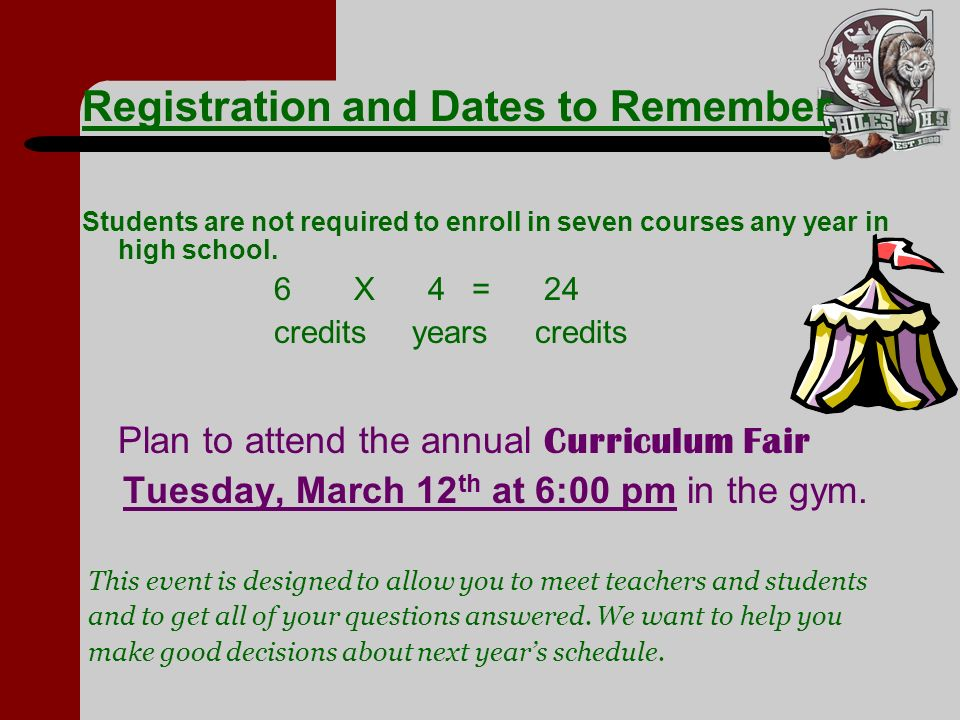 Registration and Dates to Remember
