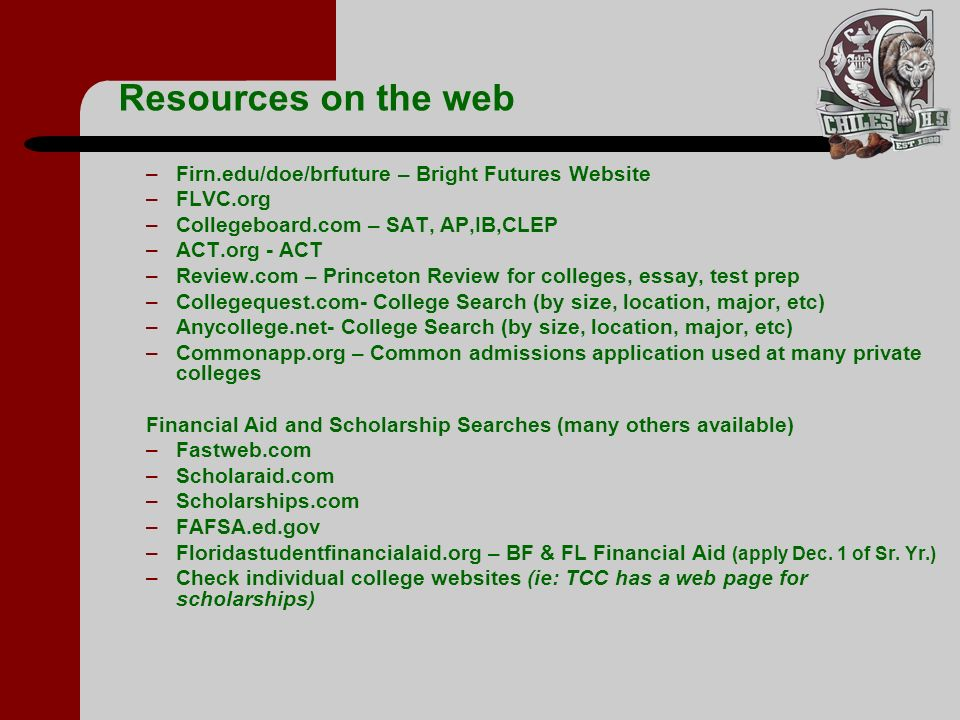 Resources on the web Firn.edu/doe/brfuture – Bright Futures Website