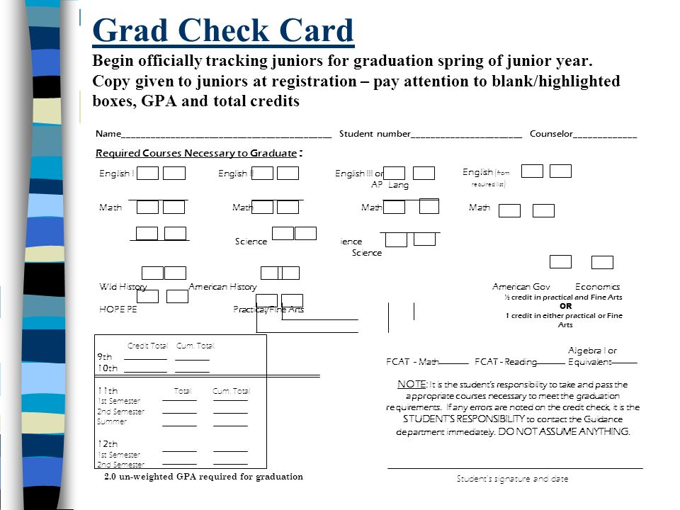 Grad Check Card Begin officially tracking juniors for graduation spring of junior year. Copy given to juniors at registration – pay attention to blank/highlighted boxes, GPA and total credits