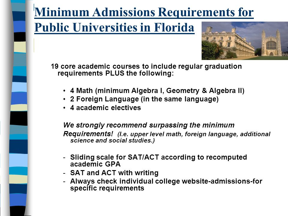Minimum Admissions Requirements for Public Universities in Florida