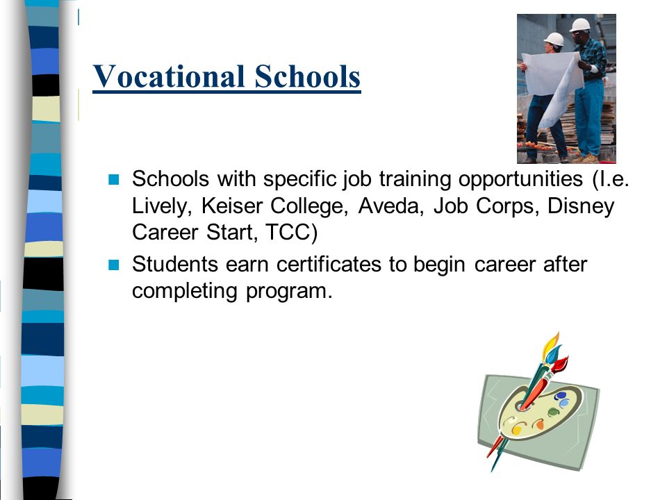 Vocational Schools Schools with specific job training opportunities (I.e. Lively, Keiser College, Aveda, Job Corps, Disney Career Start, TCC)