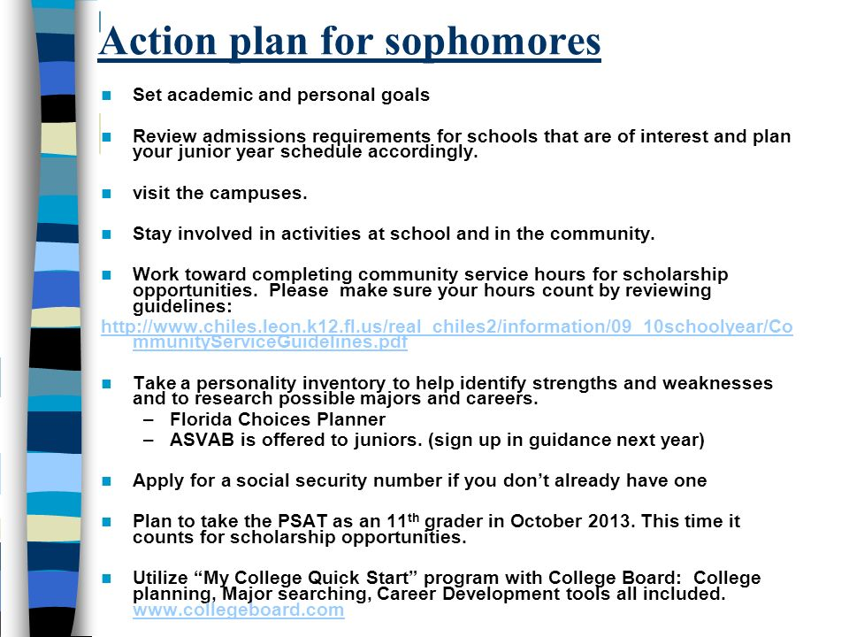 Action plan for sophomores