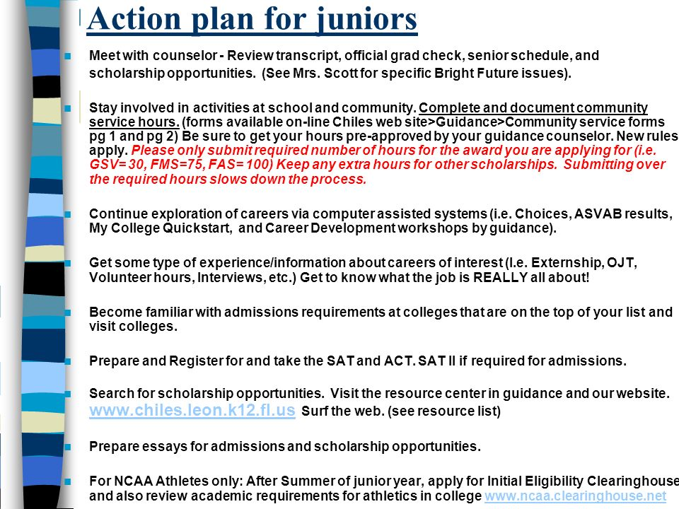 Action plan for juniors