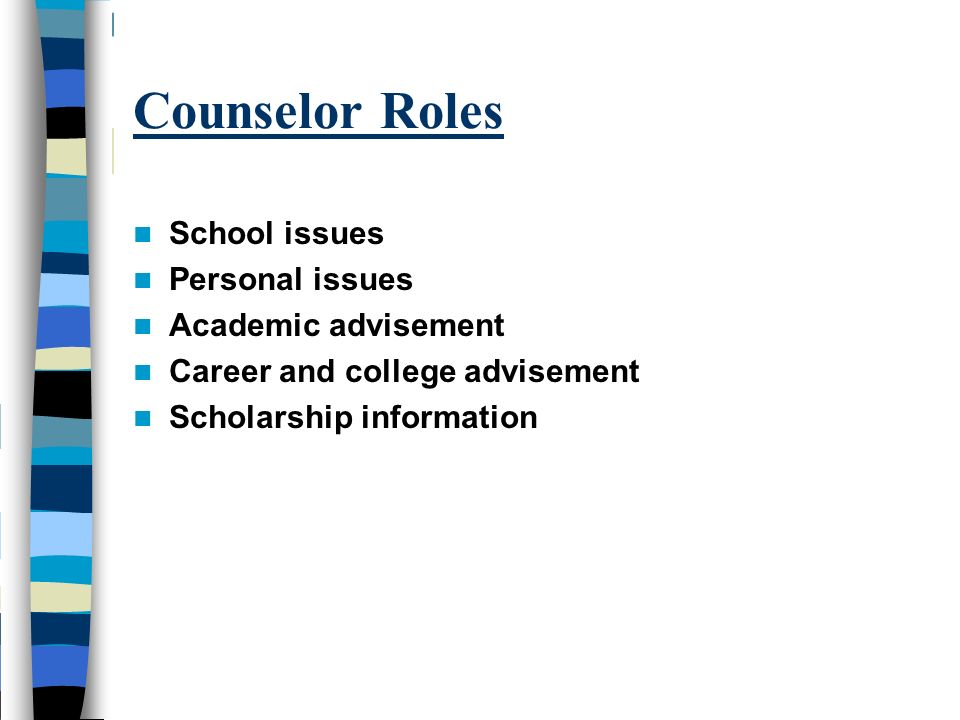 Counselor Roles School issues Personal issues Academic advisement
